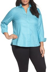 Foxcroft Plus Size Women's No Iron Houndstooth Jacquard Shirt