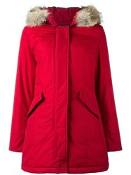 Woolrich Buttoned Parka Coat Red