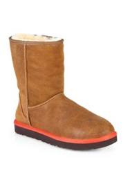 Ugg Classic Mini Wool Lined Leather Boots Chestnut Black