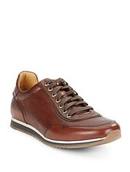 Saks Fifth Avenue By Magnanni Perforated Leather Sneakers Cognac