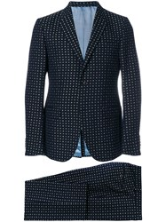 Gucci Floral Embroidered Two Piece Suit Blue