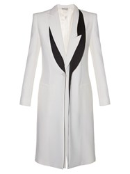 Alexander Mcqueen Asymmetric Lapel Leaf Crepe Coat Cream Multi