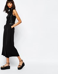 Monki Wide Leg Crop Pants Black