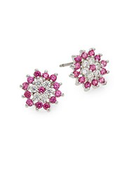 Saks Fifth Avenue Flower Stud Earrings Ruby
