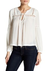 Harlowe And Graham Long Sleeve Lace Inset Blouse Petite White