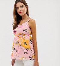 Mamalicious Maternity Floral Printed Lace Cami Top Multi
