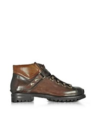 Santoni Color Block Leather Men's Ankle Boots Brown