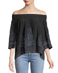 Johnny Was Tahndi Off The Shoulder Embroidered Silk Top Black