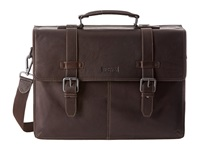 Kenneth Cole Reaction Flappy Go Lucky Colombian Leather Flapover Brief Brown Briefcase Bags
