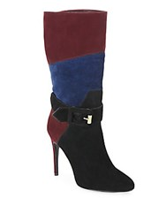 Burberry Pimlico Patchwork Suede Buckle Boots Mahogany Black