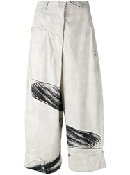 Rundholz Sketch Print Cropped Trousers Nude Neutrals