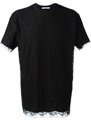 Givenchy Floral Lace Overlay T Shirt Black