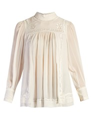Isabel Marant Maeva High Neck Embroidered Blouse White