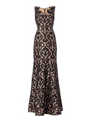 Adrianna Papell Lace Deep V Neck Gown Black
