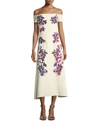 Tanya Taylor Designs Wisteria Off The Shoulder Embroidered Crepe Dress Cream