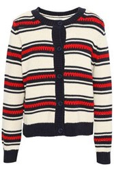 Chinti And Parker Striped Cotton Cardigan Cream