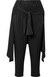 Hellessy Sentry Cropped Tie Detailed Jacquard Straight Leg Pants Black