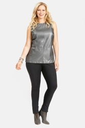 Mynt 1792 Faux Leather Front Shell Plus Size Gray