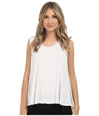 Scoop Neck Boxy Tee Heather White Women's Short Sleeve Pullover