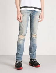 Unravel Distressed Slim Fit Tapered Jeans Stone Wash