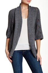Luma Pointelle Knit Cardigan Gray