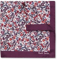 Paul Smith Floral Print Silk Twill Pocket Square Purple