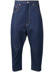 Junya Watanabe Patch Pockets Cropped Jeans Blue
