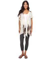 Hard Tail Easy Wrap Cardigan Crystal Alligator Women's Sweater White