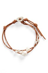 Chan Luu Women's Pearl And Leather Bracelet White Pearl Tan