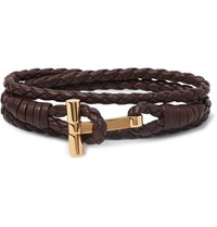 Tom Ford Woven Leather And Gold Tone Wrap Bracelet Chocolate