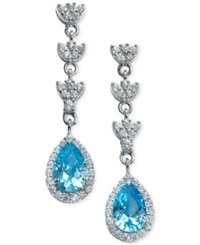B. Brilliant Clear And Aqua Cubic Zirconia Drop Earrings In Sterling Silver