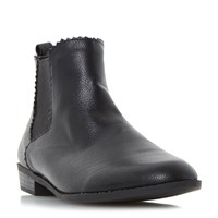 Head Over Heels Paten Gimp Edge Chelsea Boots Black