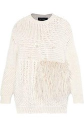 Simone Rocha Woman Oversized Faux Fur Paneled Alpaca Blend Sweater Cream