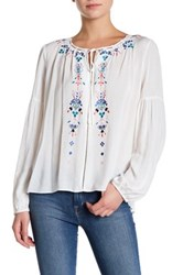 Parker Embroidered Peasant Blouse White