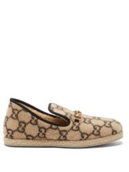 Gucci Fria Gg Print Felted Wool Loafers Beige