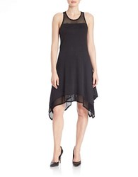 Red Haute Lace Handkerchief Hem Dress Black