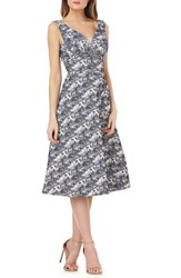 Kay Unger Sleeveless Jacquard A Line Tea Length Dress Navy Multi