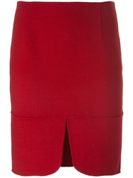 Dkny Front Slit Skirt Red