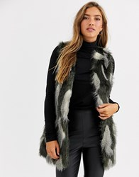 Urbancode Gilet In Textured Faux Fur Multi