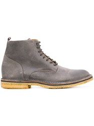 Buttero Lace Up Ankle Boots Leather Suede Rubber Grey