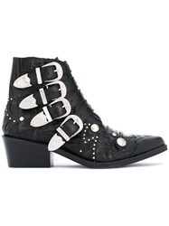 Toga Pulla Studded Buckle Boots Women Leather 36 Black