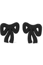 Rebecca De Ravenel Tie Me Up Cord Clip Earrings Black