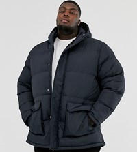 French Connection Plus Longline Padded Hooded Parka Navy