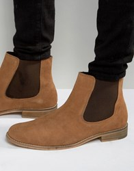 Dune Chelsea Boots In Perforated Suede Tan