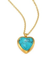 Gurhan Amulet Hue Turquoise Heart And 18 24K Yellow Gold Pendant Necklace Gold Turquoise