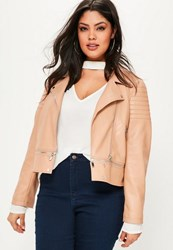 Missguided Plus Size Nude Faux Leather Zip Off Jacket Rose