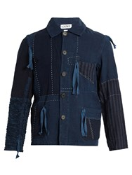 Loewe Contrasting Panel Drawstring Jacket Blue Multi