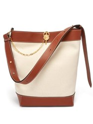 Jw Anderson Leather Trimmed Canvas Tote White