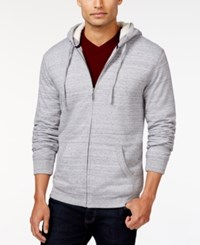 Club Room Sherpa Lined Fleece Hoodie Only At Macy's Grey Heather