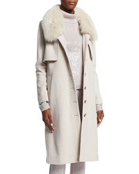 Halston Heritage Long Coat With Fur Collar